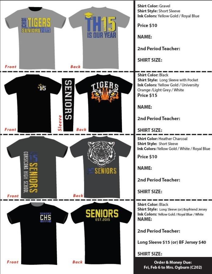 Senior 2015 Shirt Order Form